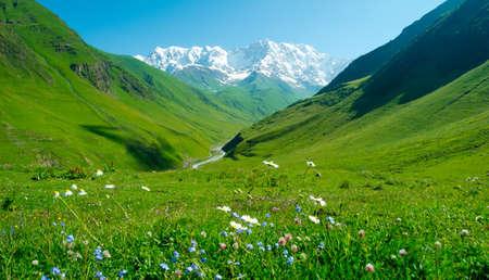 svaneti: Enguri river valley near Ushguli, Svaneti, Georgia. Shkhara mountain in the background