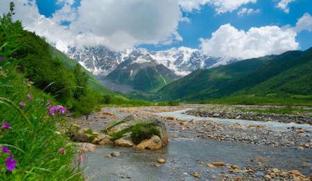 Enguri river near Ushguli, Svaneti, Georgia. Shkhara mountain in the background photo
