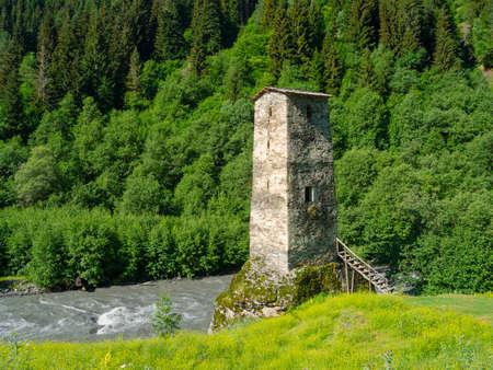 mestia: Tower near the river in Svaneti, Georgia