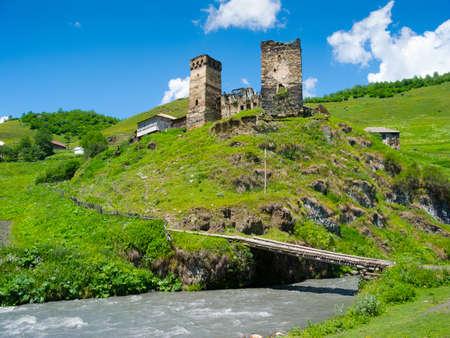 svaneti: Country landscape in Davberi, Samegrelo-Zemo Svaneti, Georgia