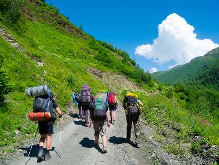 svaneti: Young hikers trekking in Svaneti, Georgia Stock Photo
