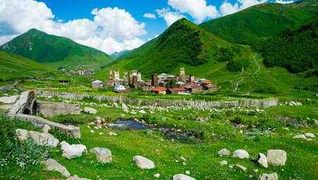svaneti: Country landscape in Ushguli, Svaneti, Georgia.