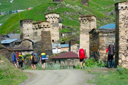 svaneti: Hikers trekking in Ushguli, Svaneti, Georgia.