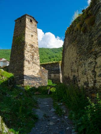 ushguli: Tower in Ushguli, Svaneti, Georgia.