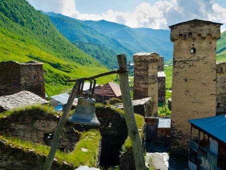 svaneti: Towers en Ushguli, Svaneti, Georgia.