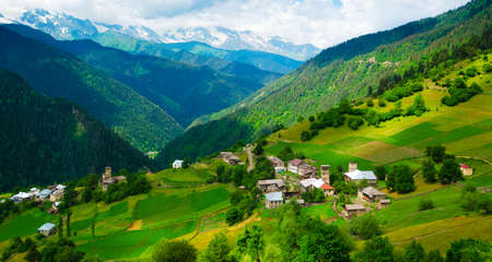 mestia: Panoramic landscape of Ieli village in Svaneti, Georgia