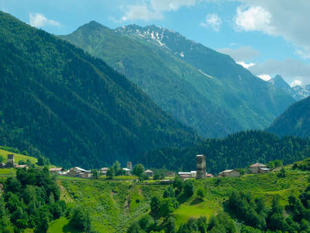 swanetia: Country landscape in Svaneti, Georgia Stock Photo