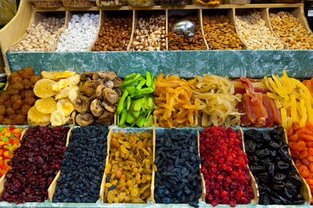 Dried fruits and nuts at the market photo