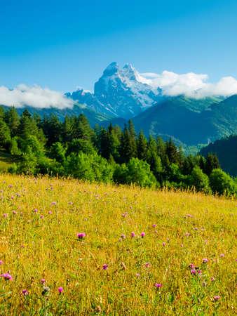 svaneti: Ushba Peaks landscape, Svaneti, Georgia Stock Photo