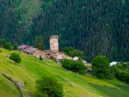 Landscape of Ieli village in Svaneti, Georgia photo