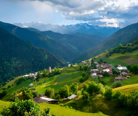 Panoramic landscape of Ieli village in Svaneti, Georgia photo