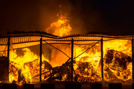 fire damage: Fire at the industrial warehouse Stock Photo