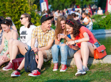 MOSCOW - MAY 24: People attend open-air concert on Bosco Fresh Festival in Muzeon Park on May 24, 2014 in Moscow
