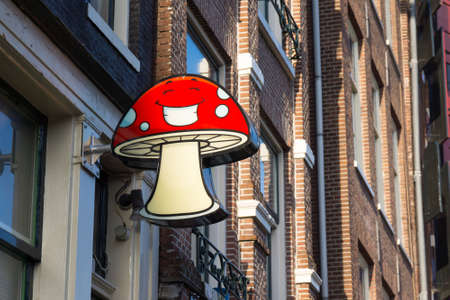 soft sell: AMSTERDAM - AUGUST 29: Signboard of a smartshop selling mushrooms on August 29, 2014 in Amsterdam. Dutch smartshops legally sell specific mushrooms (also called: paddos) as soft drugs.