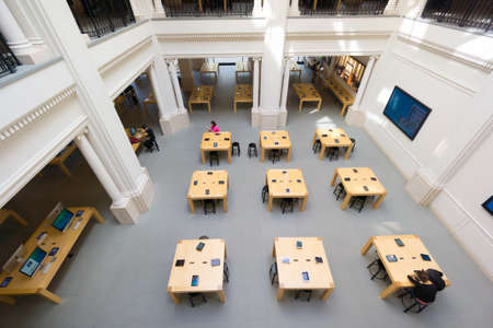 AMSTERDAM - AUGUST 28: Apple store interior on August 28, 2014 in Amsterdam.