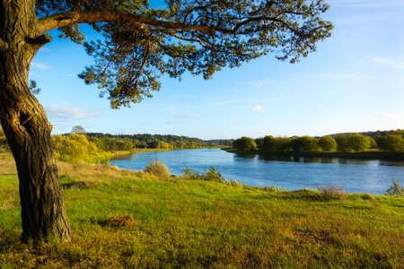 lithuania: September landscape of Neris River in Lithuania Stock Photo