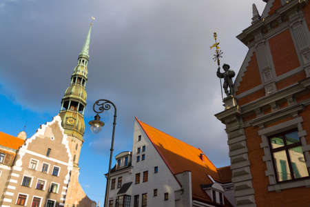 House of the Blackheads and St. Peters Church in Riga, Latvia Stock Photo