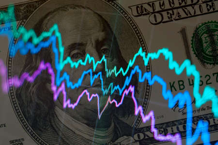 nasdaq: Abstract stock charts over one hundred dollars background