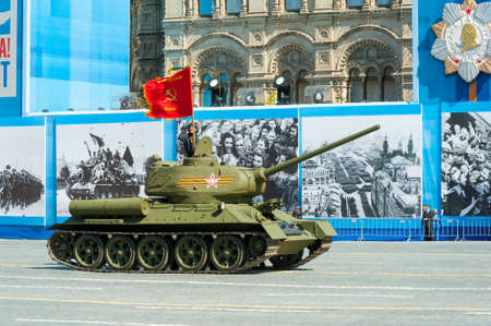 t34: MOSCOW - MAY 7: Tank T34 participates at last rehearsal of the parade dedicated to the 70th anniversary of the victory in the Second World War in Red Square on May 7, 2015 in Moscow