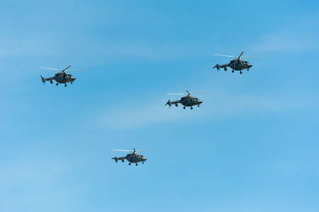 MOSCOW - MAY 7: Helicopters participate at last rehearsal of the parade dedicated to the 70th anniversary of the victory in the Second World War in Red Square on May 7, 2015 in Moscow Editorial