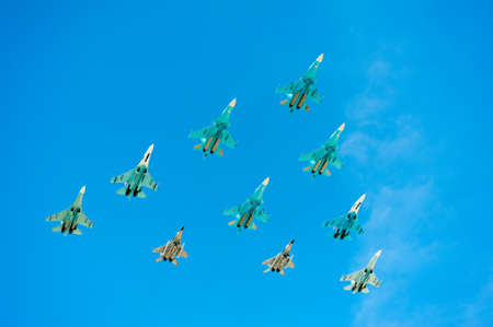 MOSCOW - MAY 7: Jet fighters make show at last rehearsal of the parade dedicated to 70th anniversary of the victory in the Second World War in Red Square on May 7, 2015 in Moscow