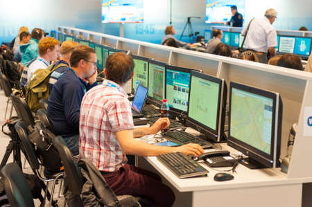 hall monitors: MOSCOW - MAY 9: Journalists work in the international press center, they write news about 70th anniversary of the victory in the Second World War events on May 9, 2015 in Moscow