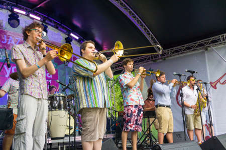 brass  band: MOSCOW - JUNE 21: Moscow Brass Band group performs at XII International Jazz Festival Usadba Jazz in Tsaritsyno Park on June 21, 2015 in Moscow Editorial
