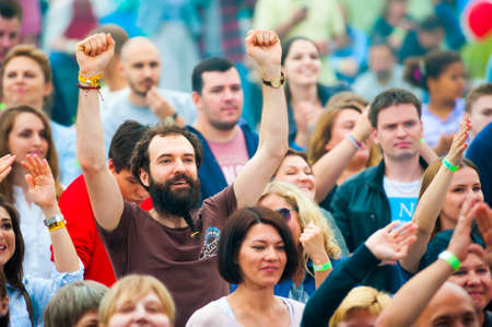 gospel music: MOSCOW - JUNE 21, 2015: People attend open-air concert on XII International Jazz Festival Usadba Jazz in Tsaritsyno Park on June 21, 2015 in Moscow