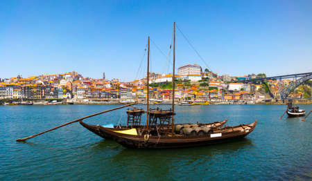rabelo: Porto old town skyline on the Douro River with rabelo boats