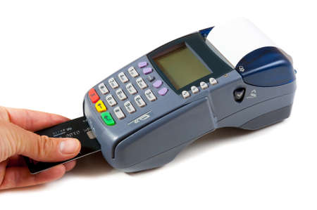 pos: Payment using chip plastic card in POS terminal