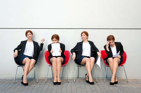 business roles: Business woman waiting for interview. Same person in all roles