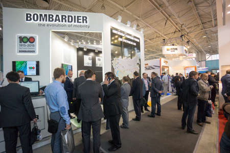 exhibition stand: MOSCOW - SEPTEMBER, 02: People attend V Anniversary International Railway Show Engineering and Technology EXPO 1520 on September 02, 2015 in Moscow