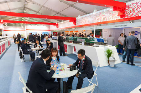 attend: MOSCOW - SEPTEMBER, 02: People attend V Anniversary International Railway Show Engineering and Technology EXPO 1520 on September 02, 2015 in Moscow