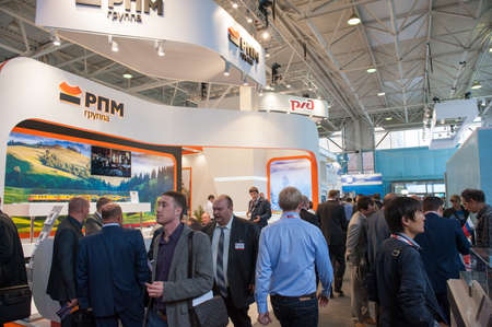 exhibition crowd: MOSCOW - SEPTEMBER, 02: People attend V Anniversary International Railway Show Engineering and Technology EXPO 1520 on September 02, 2015 in Moscow