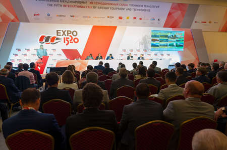 listeners: MOSCOW - SEPTEMBER, 02: Audience at conference at V Anniversary International Railway Show Engineering and Technology EXPO 1520 on September 02, 2015 in Moscow