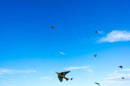 kite: Different kites in the sky Stock Photo