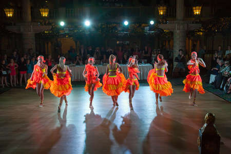 latino dance: MOSCOW - OCTOBER 18: Unidentified female teens age 14-17 compete in latino dance on the Artistic Dance Awards 2014-2015, organized by World Dance Artistic Federation on October 18, 2015 in Moscow.