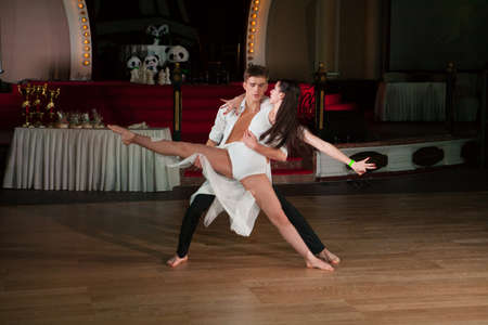 latino dance: MOSCOW - OCTOBER 18: Unidentified teens age 14-18 compete in latino dance on the Artistic Dance Awards 2014-2015, organized by World Dance Artistic Federation on October 18, 2015 in Moscow. Editorial
