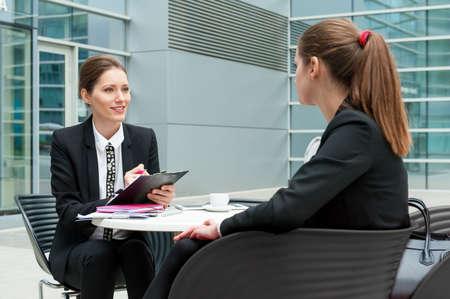 job interview: Young business woman job interview