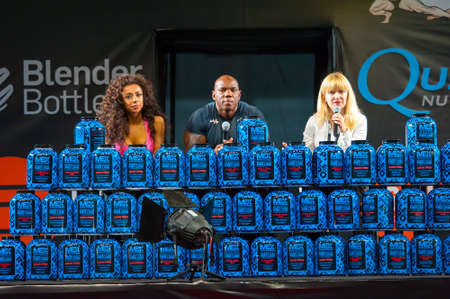 flex: MOSCOW, RUSSIA - NOVEMBER 21, 2015: Flex Wheeler presents sports nutrition at the exhibition SN Pro Expo Forum 2015 on November 21, 2015 in Moscow, Russia