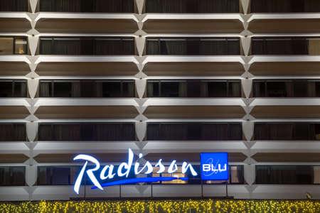 blu: VILNIUS, LITHUANIA - DECEMBER 15, 2015: Radisson Blu hotel at night on December 15, 2015 in Vilnius, Lithuania