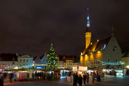 december 25: TALLIN, ESTONIA - DECEMBER 25, 2015: City hall square at Christmas on December 25, 2015 in Tallin, Estonia