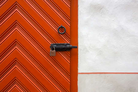 padlocked: Medieval door bolted and padlocked Stock Photo