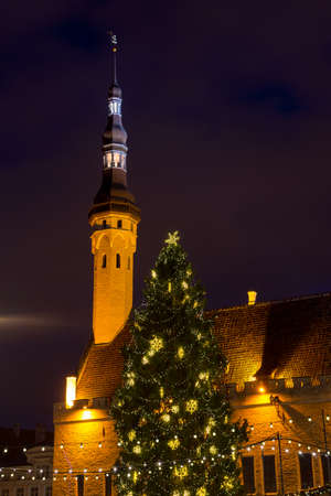 tallin: City hall square at Christmas in Tallin, Estonia