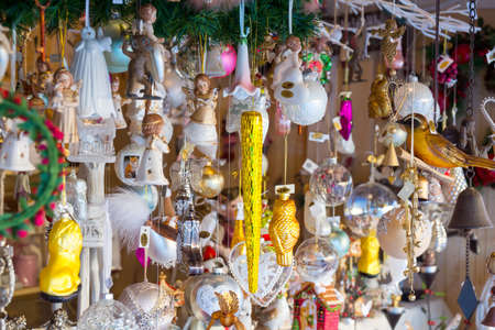 souvenirs: Handmade souvenirs at Christmas Fair in old town at evening in Vilnius, Lithuania