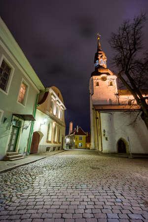 tallinn: Old city night landscape in Tallinn, Estonia Stock Photo