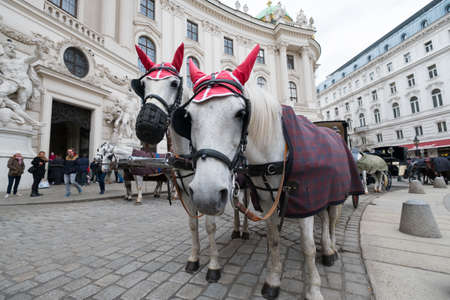 taxi famous building: VIENNA - APRIL,24: Tourists ride in a fiakre in old city centre on April 24, 2016 in Vienna Editorial