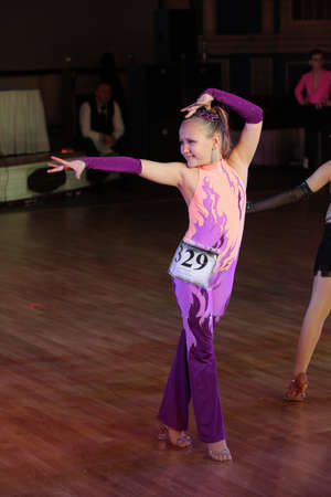 dace: MOSCOW - MARCH 19: Unidentified teens age 12-18 compete at artistic dances at European Artistic Dace Championship, organized by World Dance Artistic Federation on March 19, 2016, in Moscow.