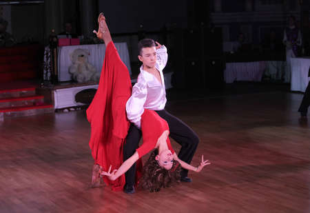 dace: MOSCOW - MARCH 19: Unidentified teens age 10-18 compete at artistic dances at European Artistic Dace Championship, organized by World Dance Artistic Federation on March 19, 2016, in Moscow.