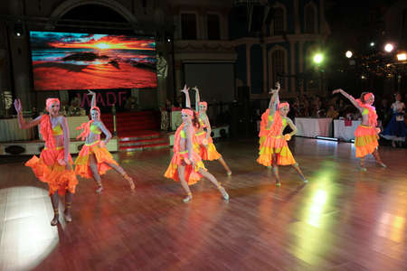 dace: MOSCOW - MARCH 19: Unidentified children age 8-18 compete at artistic dances at European Artistic Dace Championship, organized by World Dance Artistic Federation on March 19, 2016, in Moscow.